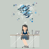 Business woman at work marketing. Flat design illustration. Public relations communication Royalty Free Stock Photos