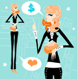 Business woman work money love concept Royalty Free Stock Photo