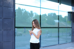 Business woman work near center speaks on phone royalty free stock images