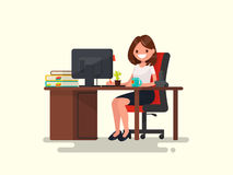Business woman at work. Office worker woman behind the a work de. Sk. Vector illustration of a flat design Stock Photos