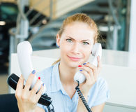 Business woman on work place in office Stock Image