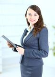Business woman with the work plan Stock Photo