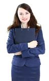 Business woman with the work plan smiling Royalty Free Stock Image