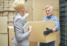 Business woman with worker in warehouse Stock Photos