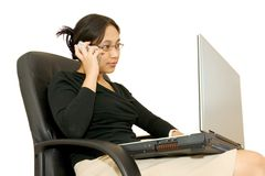 Business Woman Working. And making a phone call Stock Images