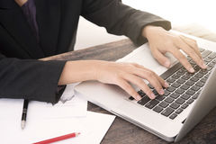 Business woman working about business investment report. Stock Images