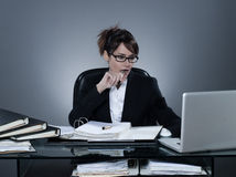 Business woman working busy computing laptop computer Stock Images