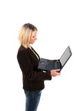 Business woman working with computer Royalty Free Stock Image