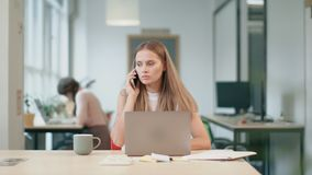 Business woman working at computer. Angry person working with documents. stock footage