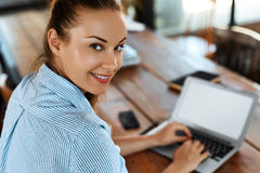 Business Woman Working On Computer At Cafe. Freelance Work, Communication Royalty Free Stock Photography
