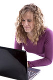 Business woman working on computer happy stock image