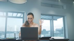 Business woman working at computer. Happy person chatting on notebook. stock footage