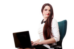 Business woman working on computer isolated Royalty Free Stock Image