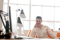 Business woman working on computer at office Royalty Free Stock Image