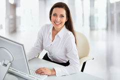 Business woman working with computer Stock Image