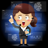 Business woman working with data processing Stock Photo