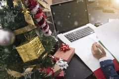 Business woman working on desk office concept office christmas Stock Image
