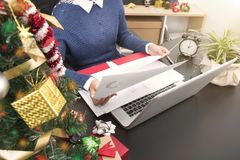 Business woman working on desk office concept office christmas Royalty Free Stock Photos