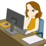 Business woman working on desktop computer vector illustration