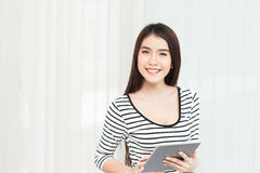 Business woman working on digital tablet computer at office Stock Image