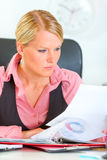 Business woman working with documents Royalty Free Stock Photo
