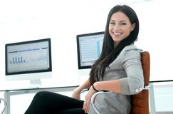 Business woman working with financial charts on computer stock image