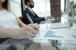 Business woman working with financial documents. Royalty Free Stock Photos