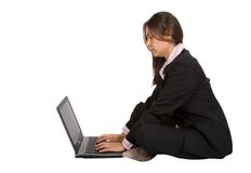 Business woman working on the floor Royalty Free Stock Image
