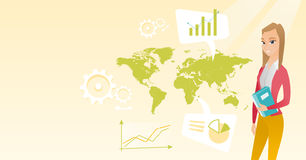 Business woman working in global business. Business woman taking part in global business. Businesswoman standing on the background of map. Global business and Royalty Free Stock Photos