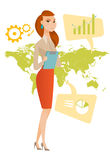 Business woman working in global business. Business woman taking part in global business. Businesswoman standing on the background of map. Global business and Royalty Free Stock Images