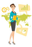 Business woman working in global business. Business woman taking part in global business. Businesswoman standing on the background of map. Global business and Stock Photos