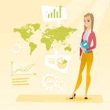 Business woman working in global business. Business woman taking part in global business. Businesswoman standing on the background of world map. Global business Royalty Free Stock Image