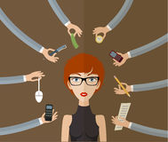 Business woman. Working hard in office with a lot of paper work. Business concept on hard working and multitasking. Flat style, vector illustration Royalty Free Stock Photo