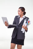 Business woman working hard Royalty Free Stock Images