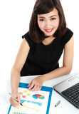 Business woman working on her desk Royalty Free Stock Image