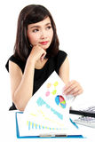 Business woman working on her desk Stock Photo