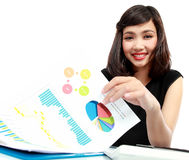 Business woman working on her desk Royalty Free Stock Photo