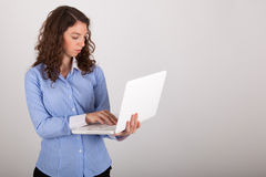 The business woman is working with her laptop Royalty Free Stock Photo