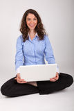 The business woman is working with her laptop Stock Photos
