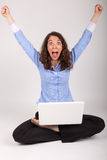 The business woman is working with her laptop Stock Photography
