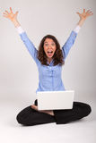 The business woman is working with her laptop Stock Images