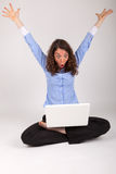 The business woman is working with her laptop Royalty Free Stock Image