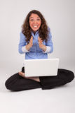 The business woman is working with her laptop Stock Photo