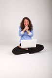 The business woman is working with her laptop Royalty Free Stock Photos