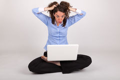 The business woman is working with her laptop Royalty Free Stock Photography