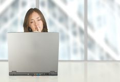 Business woman working at her office Royalty Free Stock Image