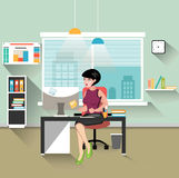 Business woman working at her office desk. Flat style modern vector illustration Stock Image