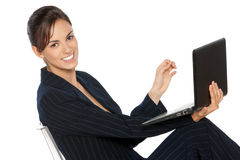 Business woman working on laptop Stock Photo
