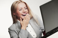 Business woman working on laptop Stock Photos