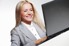 Business woman working on laptop Royalty Free Stock Images
